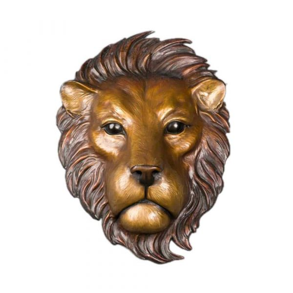 African Lion Mask, rip caswell, caswell sculpture, alison caswell, lion, africa, caswell sculpture, statue, wall art, wall mount, wall hanging, wall bronze, statuary, patina, african, metal, art, fine art, limited edition, brass, figure