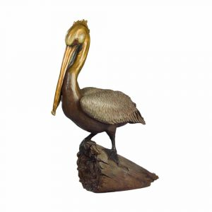 pelican, ancient mariner, bird, bronze, coastal, brass, statue, oregon, oregon coast art, cannon beach, ocean, rip caswell, alison caswell, caswell sculpture, statue, statuary, figure, coastal bird art, coastal art, ocean art, marine art, troutdale, gallery, studio