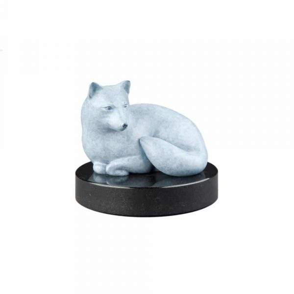 fox, arctic fox, art, sculpture, bronze, contemporary, modern, patina, smooth, statue, abstract, statuary, figure, brass, carving, brass carving, copper metal, metal art, oregon, rip caswell, alison caswell, caswell sculpture