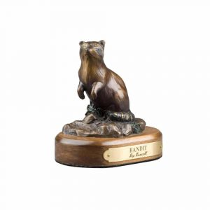 bandit, raccoon, bronze, statue, sculpture, brass, rip caswell, alison caswell, miniature, troutdale, fine art, decor, home, beautiful, troutdale, gallery, studio, columbia gorge, gorge, animal, wildlife, limited edition