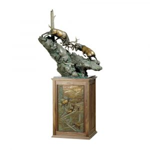 Elk Fight | Hand Crafted Bronze Sculpture in Troutdale, Oregon