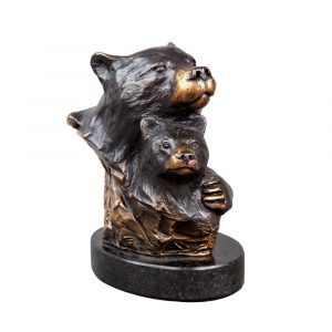 bear hug, black bear, bear, bear cub, mother and baby, Wildlife, rip caswell, Alison caswell, caswell sculpture, sculpture, bronze, statue, statuary, fine art, art, metal art, brass art, copper, foundry, firebird bronze, mammal, home décor, collection, traditional, modern, contemporary, troutdale, Oregon, Columbia river highway, Columbia gorge, limited edition, limited art, rare art