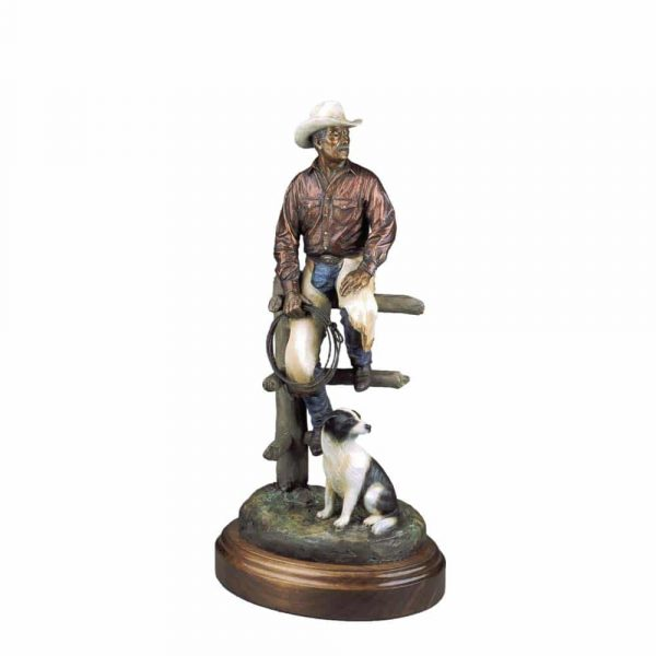 corral companions, caswell sculpture, rip caswell, alison caswell, bronze cowboy, dog, brass, figure, life-size, monument, figurative, western, jackson hole, wyoming, cody wyoming, wild west, montana, metal, art, statue, statuary