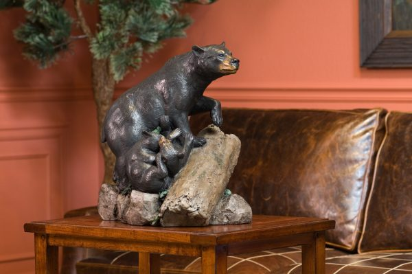 double trouble, black bear, black bears, cubs, mother and baby, statue, bronze, metal, casting, statue, figure, carving, brass, rip caswell, alison caswell, caswell sculpture, caswell bronze