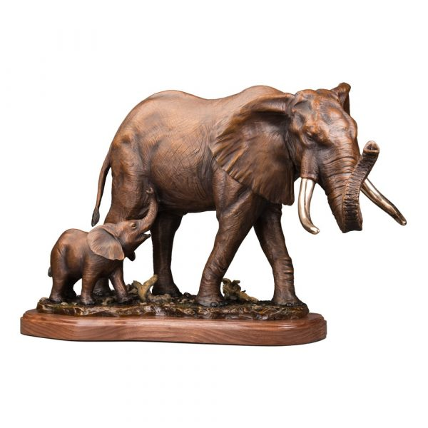 africa, african elephant, african elephant baby, following in his footsteps, Wildlife, rip caswell, Alison caswell, caswell sculpture, sculpture, bronze, statue, statuary, fine art, art, metal art, brass art, copper, foundry, firebird bronze, mammal, home décor, collection, traditional, modern, contemporary, troutdale, Oregon, Columbia river highway, Columbia gorge, limited edition, limited art, rare art, Bronze, statue, Caswell, sculpture, casting, art, fine art, monument, memorial, lost wax, bronze sculpture, bronze statue, public art, statuary, art investment, valuable art, art work, collectable art, limited edition, rare art, patron of the arts, tax free art, art collector, home décor, awards, corporate art, art foundry, bronze foundry, corporate awards, university mascots, campus sculpture, outdoor art, decorating with art, outdoor sculpture, Rip Caswell, Alison Caswell, Caswell sculpture, Troutdale art, historical art, contemporary art, western art, realism art, impressionistic art, realistic art, sculptor, sculptors, top sculptors, award winning art, Jackson hole art, northwest art, northwest artist, Oregon artist, Oregon sculptors, brass, figurines, rare, animals, conservation, national geographic, wildlife, endangered, red list, saving species, human sculpture, portrait, memorial, urns, carving, contemporary, modern, traditional, collection, abstract, patina