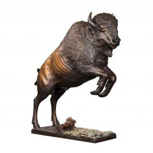smoke jumper bison buffalo bronze sculpture caswells sculpture