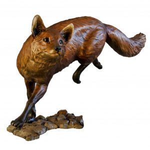 out foxed bronze red fox caswell sculpture