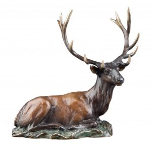 caswell sculpture regal repose deer bronze