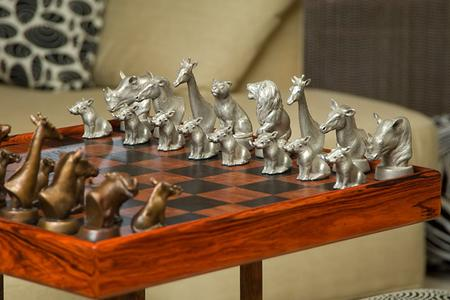African Chess Set, Bronze, Sculpture, Statues, lion, giraffe, chess, statue, troutdale, alison caswell, rip caswell, caswell, logic, game, statuary, home decor, decor, fine art, art, metal art, africa, african art, african home decor