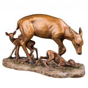 new beginnings doe fawn bronze caswell sculpture