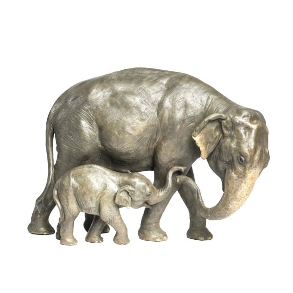 Trunks of Hope Asian elephant bronze sculpture