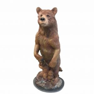 Grizzly bear mother and cubs bronze sculpture