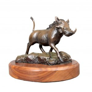 Warthog bronze sculpture