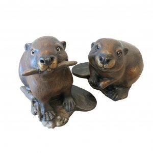 Business partners beavers sculpture